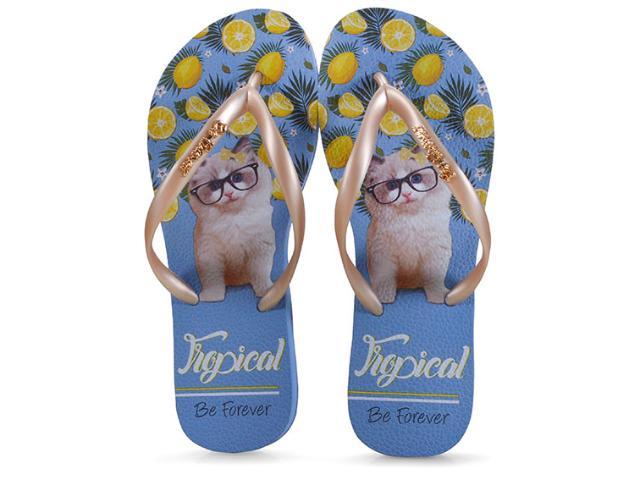 Chinelo Feminino Rafitthy 110.91701 be Forever Cat Lemon  Tropical