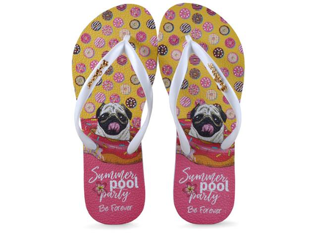 Chinelo Feminino Rafitthy 110.91701 be Forever Pug Summer Pool Branco