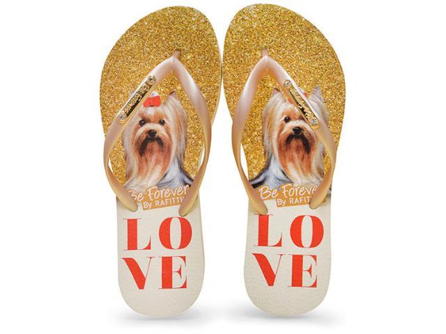 Chinelo Feminino Rafitthy 110.71702 York Love Glitter  Bege/dourado