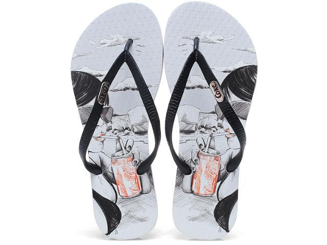 Chinelo Feminino Coca-cola Shoes Cc0345 Branco/preto
