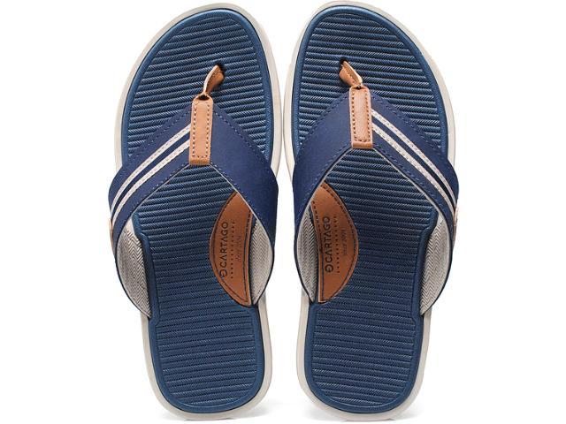 Chinelo Masculino Grendene 10822 Cartago Rimini Dedo ad Bege/azul