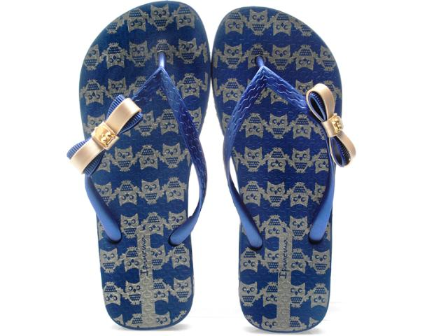 Chinelo Feminino Grendene 25616 Ipanema Fashion Print Azul/ouro