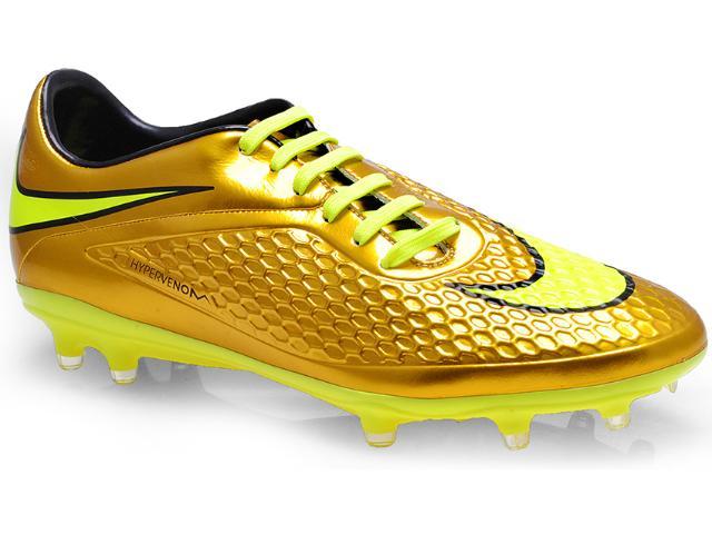 Chuteira Masculina Nike 677585-907 Hypervenom Phelon Prem fg Ouro/limão