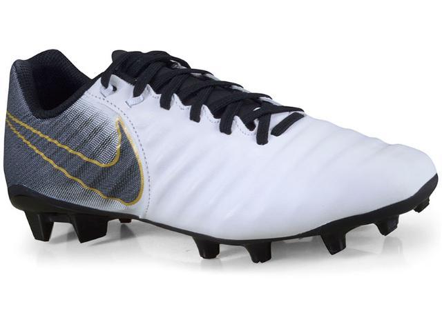 Chuteira Masculina Nike Ao2596-100 Tiempo Legend 7 Academy Branco/preto/dourado