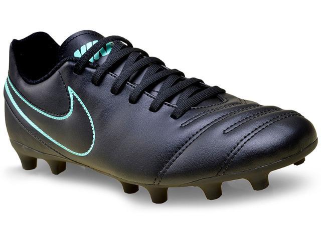 Chuteira Masculina Nike 819233-004 Tiempo Rio Iii Firm Ground  Preto/turquesa
