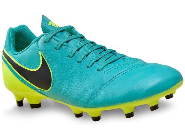 Chuteira Masculina Nike 819213-307 Tiempo Genio ii Leather fg Verde/amarelo