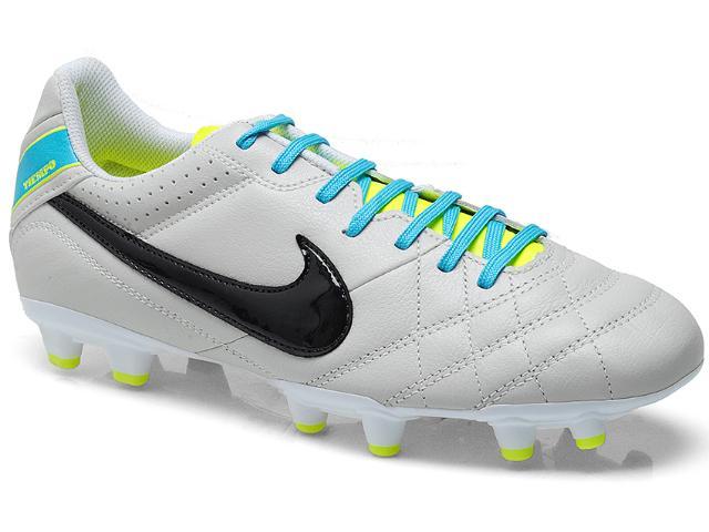 Chuteira Masculina Nike 509085-001 Tiempo Natural iv Ltr f Gelo/preto/celeste/limão