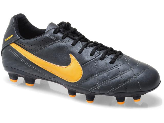 Chuteira Masculina Nike 509085-080 Tiempo Natural iv Ltr fg Preto/amarelo