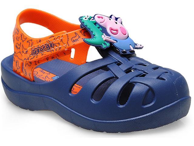 Crocs Fem Infantil Grendene 21254 Peppa Soft Azul/laranja