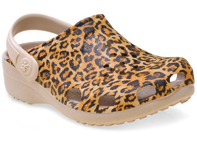 Crocs Fem Infantil Soft Mania Bb16 Bege/onca