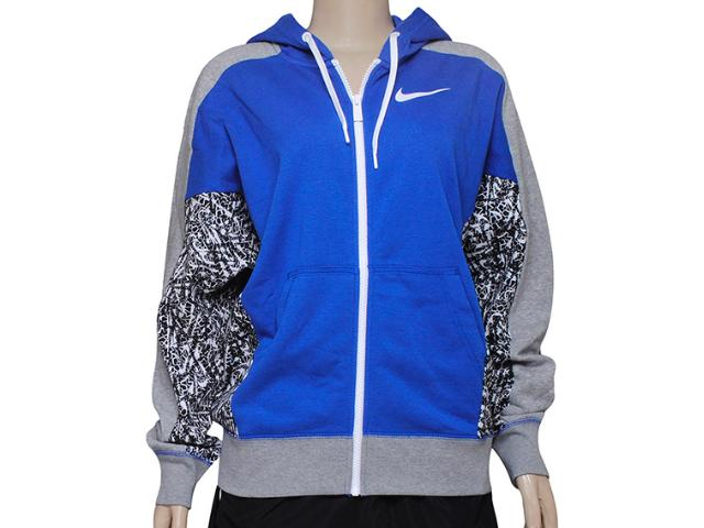 Jaqueta Feminina Nike 642731-480 Club fz Hoody-aop Azul/mescla