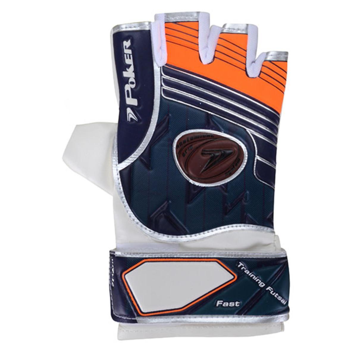 Luva Unisex Poker 01887 Futsal Fast Branco/azul/laranja
