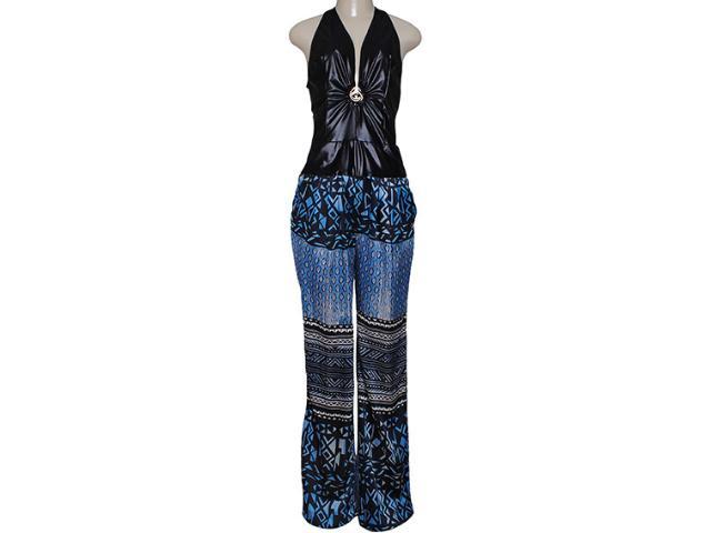Macacão Feminino Moikana 13604 Azul/preto