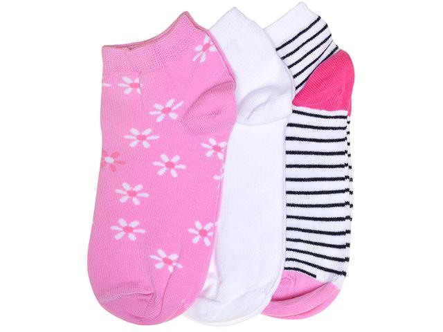 Meia Feminina Lupo 4535 089 Kit/ 3 0957 Branco Listrado/rosa/branco