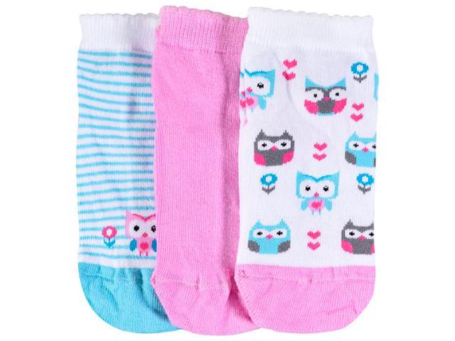 Meia Fem Infantil Lupo 2678 089 0920 Kit C/3 Branco/rosa/verde