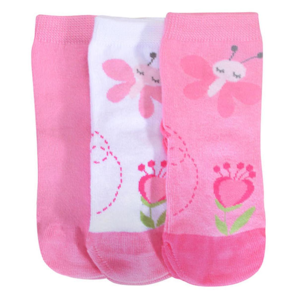 Meia Fem Infantil Lupo 2000 089 0920 Kit C/3 Branco/rosa