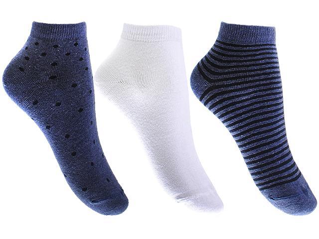 Meia Feminina Lupo 4535 89 Kit/ 3 Azul/branco/azul Listrado