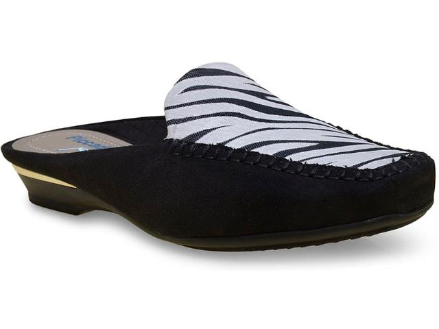 Mule Feminino Piccadilly 147068 Preto/off White