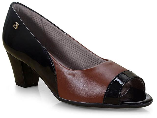 Peep Toe Feminino Piccadilly 714101 Preto/chocolate