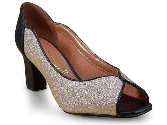 Peep Toe Feminino Vizzano 1818421 Dourado/preto