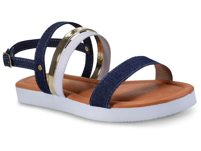 Sandália Feminina Addan Mulher 576 Jeans/ouro