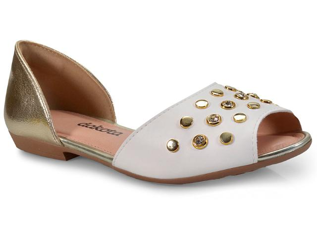 Sandália Feminina Dakota Z2481 Branco/ouro