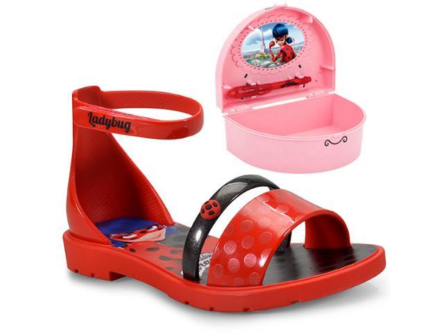Sandália Fem Infantil Grendene 21695 Ladybug Porta  Vermelho/preto