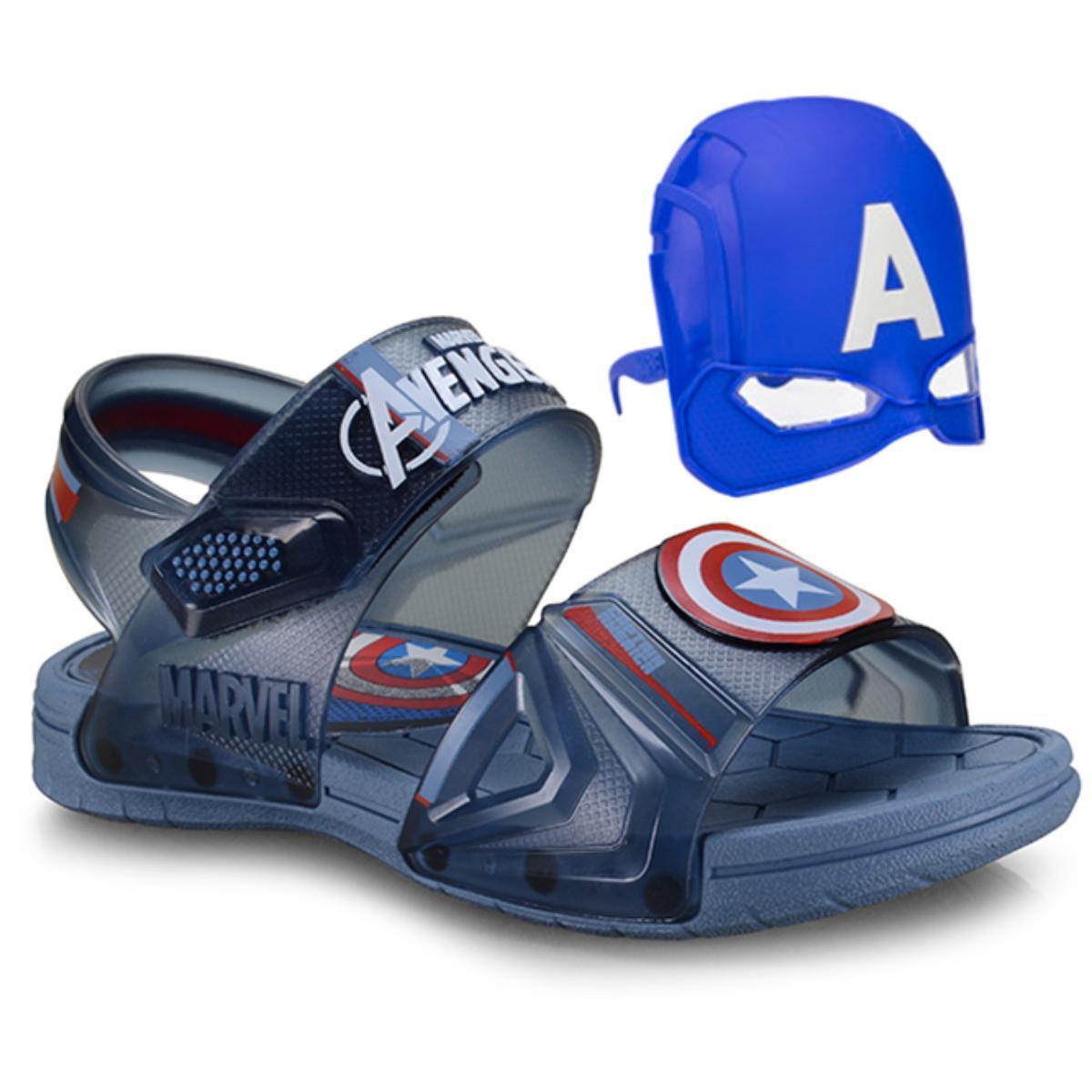Sandália Masc Infantil Grendene 21998 24814 Azul/azul Marvel Hero Glasses Transparente