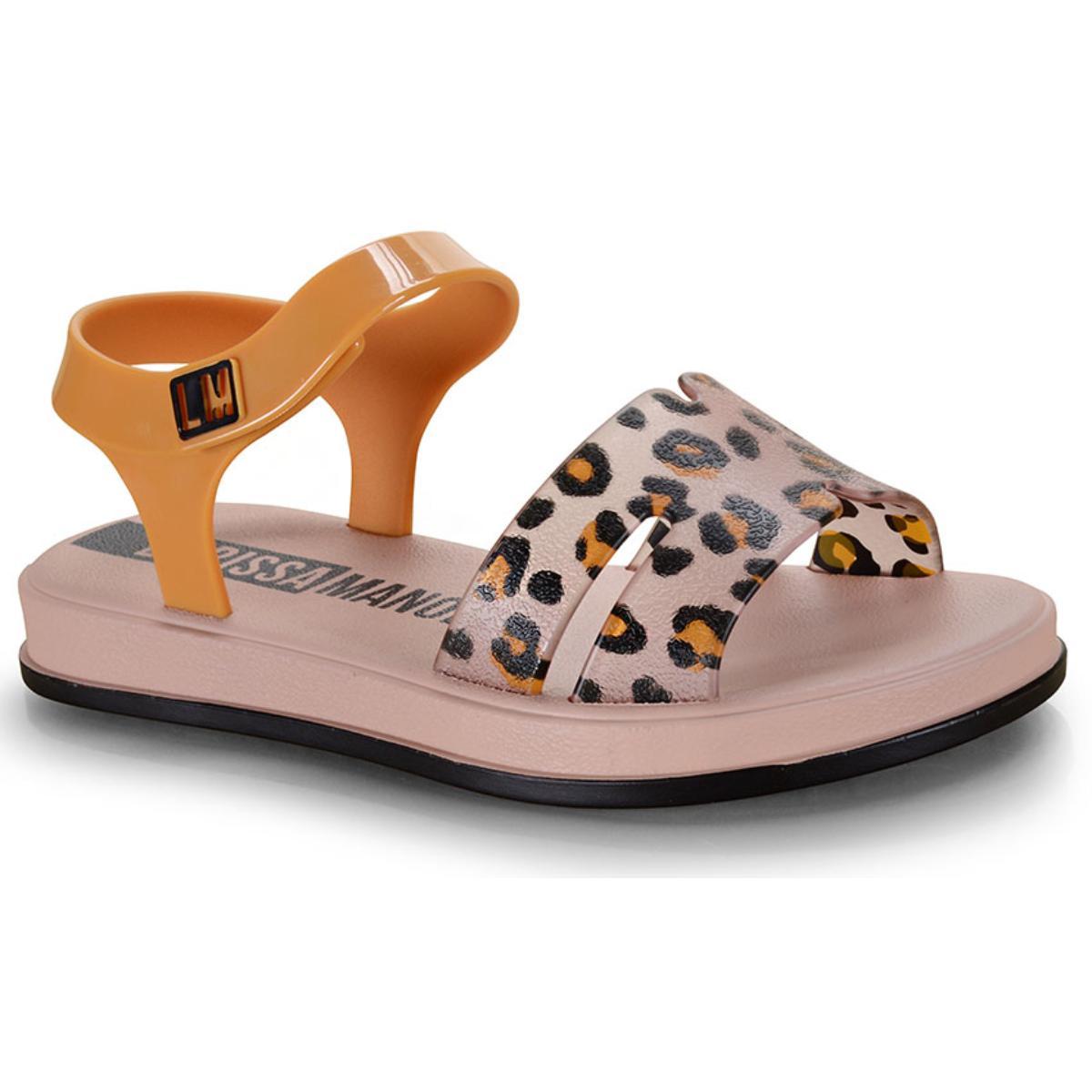 Sandália Fem Infantil Grendene 22156 25117 Larissa Manoela Vip Flat Rosa/preto/amarelo