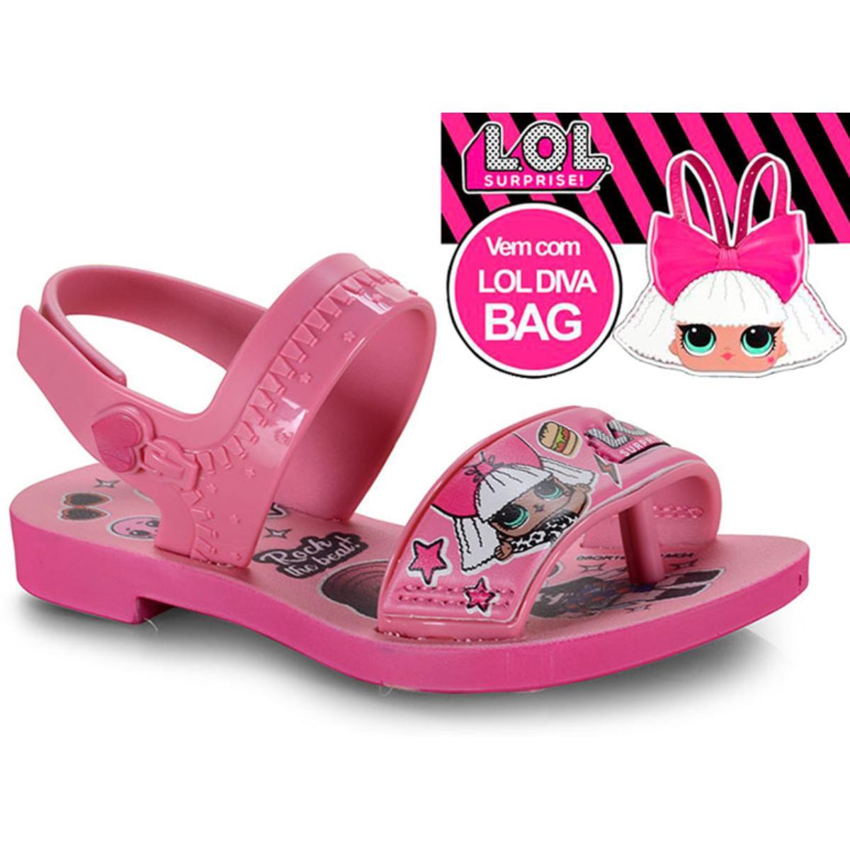 Sandália Fem Infantil Grendene 22117 24308 Diva Bag Sand Rosa Escuro/rosa
