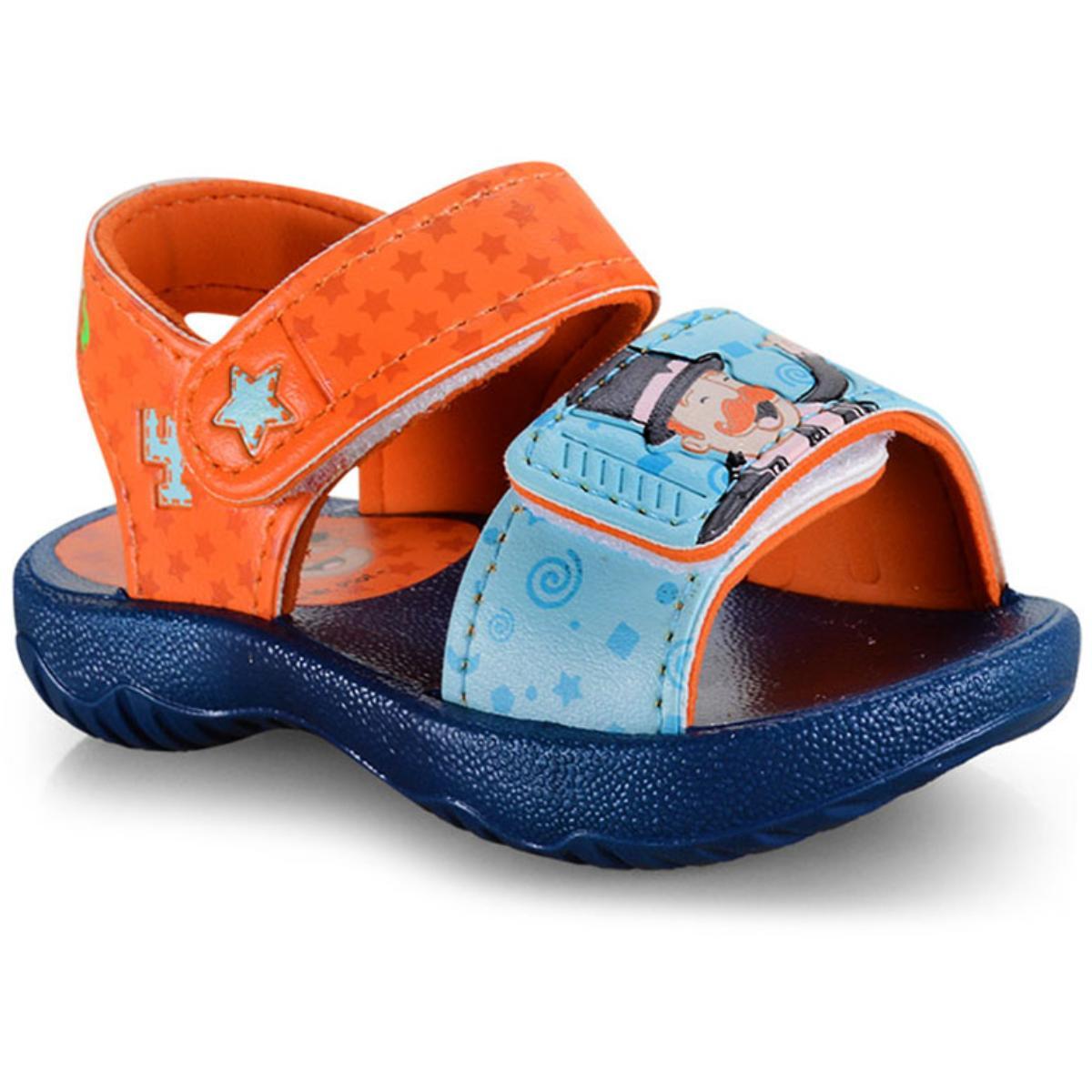 Sandália Masc Infantil Grendene 22173 24803 Bita Nosa Turma Sand Azul/laranja