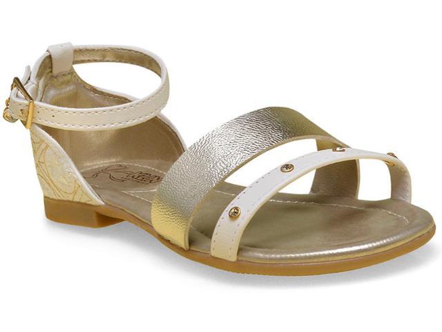 Sandália Fem Infantil Klin 126.046 Off White/dourado