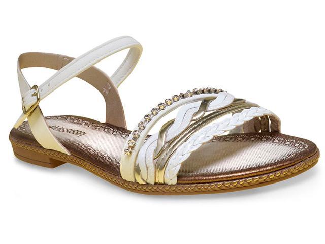 Sandália Feminina Mississipi X5942 Branco/ouro