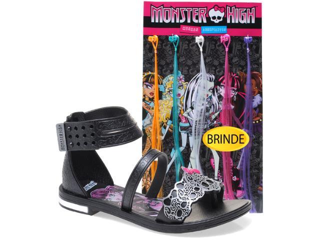 Sandália Fem Infantil Grendene 21050 Monster High Mechas de Arrepiar Preto/prata