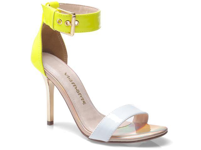 Sandália Feminina Via Marte 13-20701 Branco/amarelo Neon/champanhe