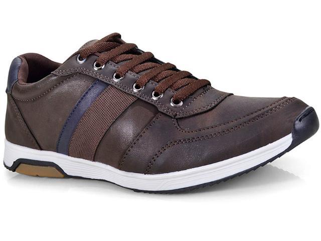 Sapatênis Masculino Ped Shoes 15050-b Café Kit c/ Relogio