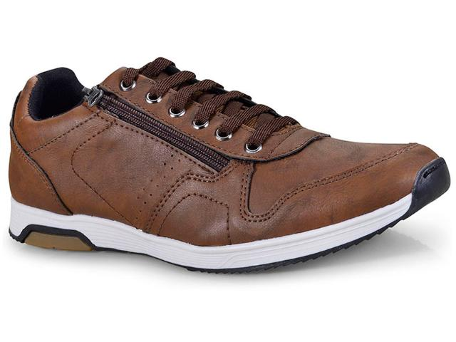 Sapatênis Masculino Ped Shoes 15040-e Caramelo Kit C/relogio