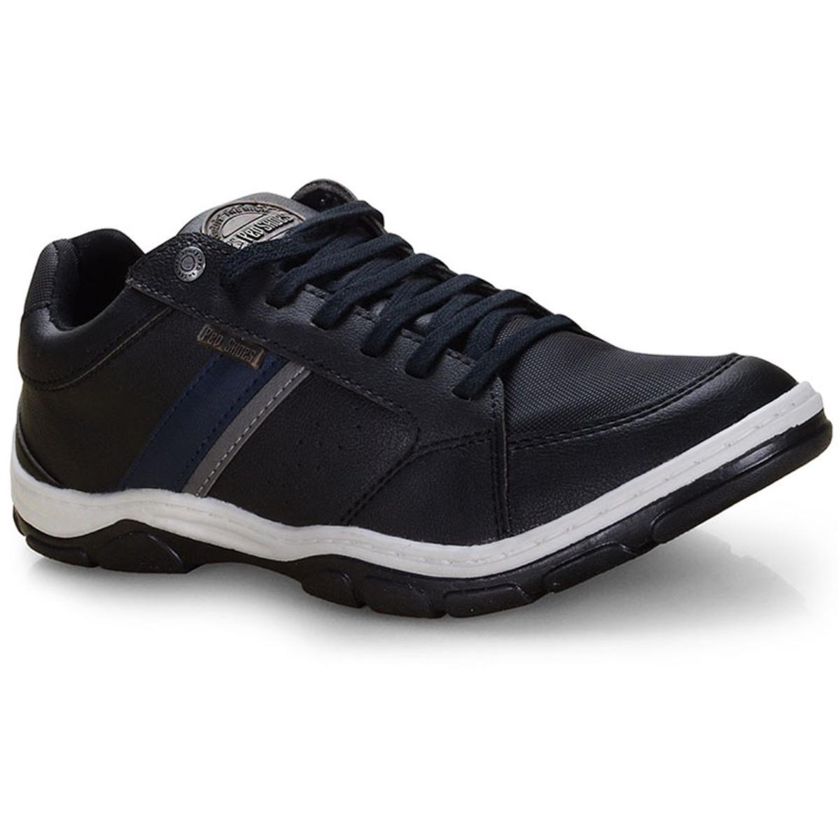 Sapatênis Masculino Ped Shoes 17502-a Preto Kit c/ Relogio