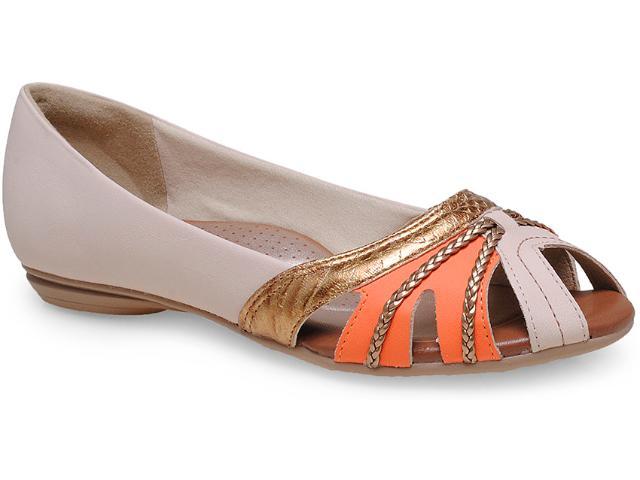 Sapatilha Feminina Campesi 4504 Pele/laranja/ouro
