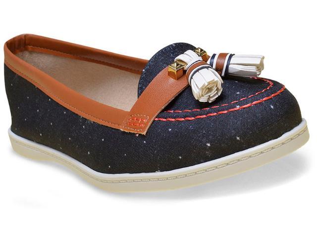 Sapatilha Feminina Moleca 5303105 Jeans Escuro/caramelo/branco