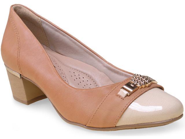 Sapato Feminino Comfortflex 15-95404 Caramelo/off White