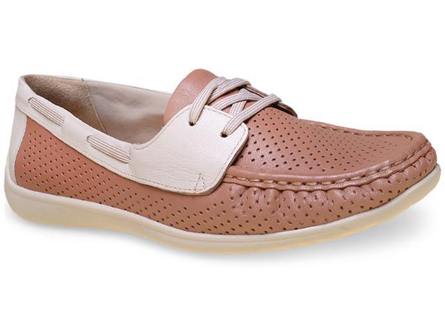 Sapato Feminino Comfortflex 15-83404 Amendoa/off White