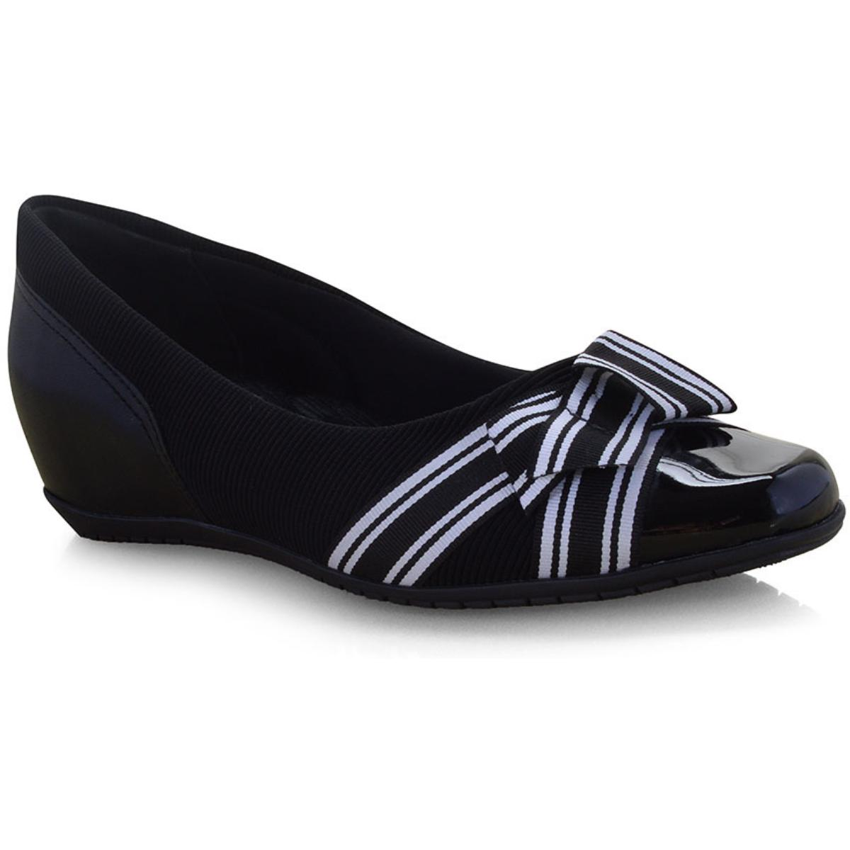 Sapato Feminino Comfortflex 19-94303 Preto/branco