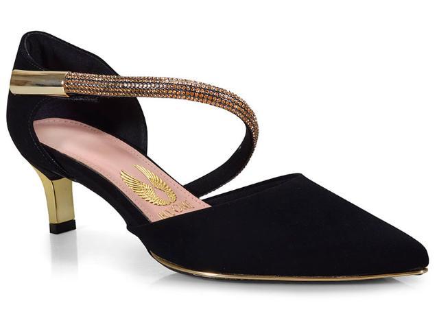 Sapato Feminino Invoice 201.2027d Tamires Preto/ouro