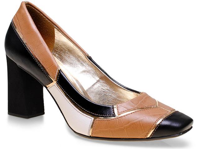 Sapato Feminino Seculo Xxx 1081.20097 Ouro/preto/madeira