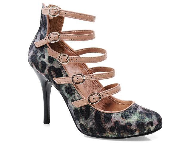 Sapato Feminino Tanara 4702 Onca Preto/avelã