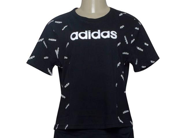 T-shirt Feminino Adidas Dw8017 w Aop Tee Preto/branco