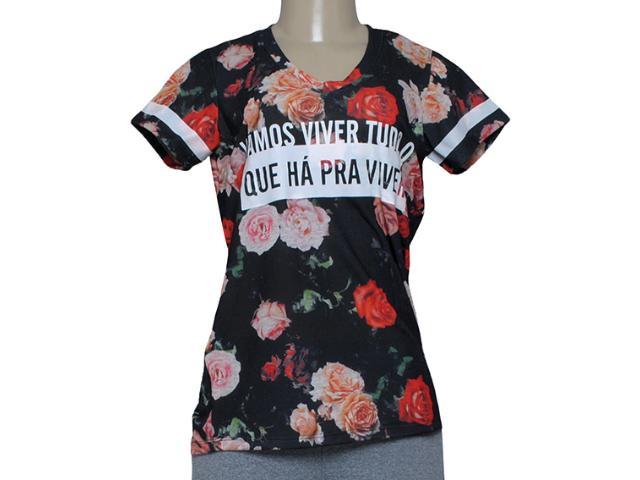 T-shirt Feminino Alto Giro 58762 Preto Floral