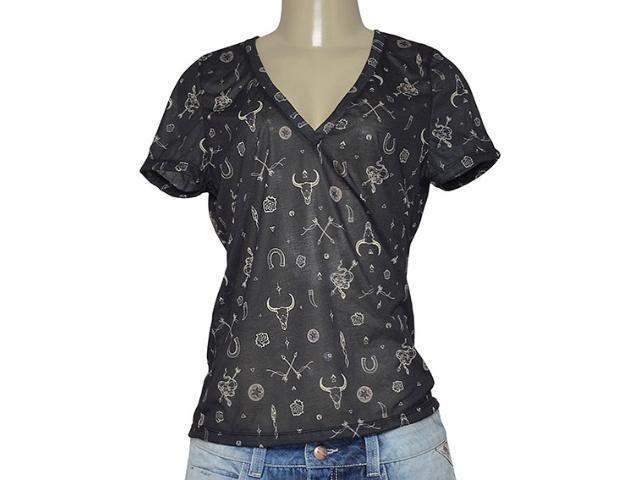 T-shirt Feminino Cavalera Clothing 09.02.2439 Preto Estampado