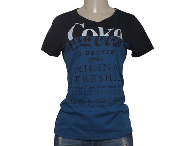 T-shirt Feminino Coca-cola Clothing 343201325 Preto/marinho
